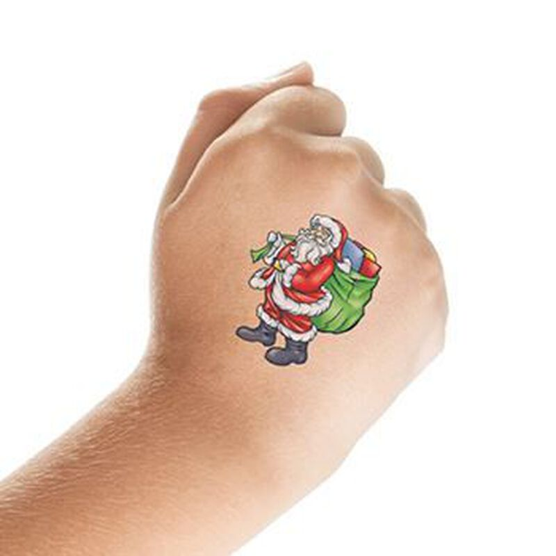 Santa with Gift Bag Temporary Tattoo image number null