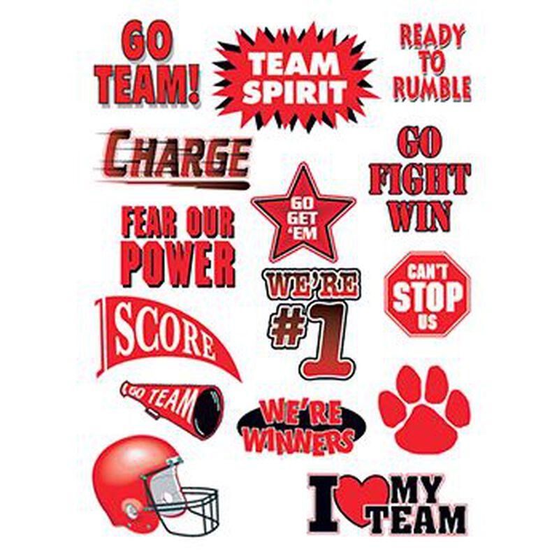 Go Team Red Set of Sports Temporary Tattoo image number null