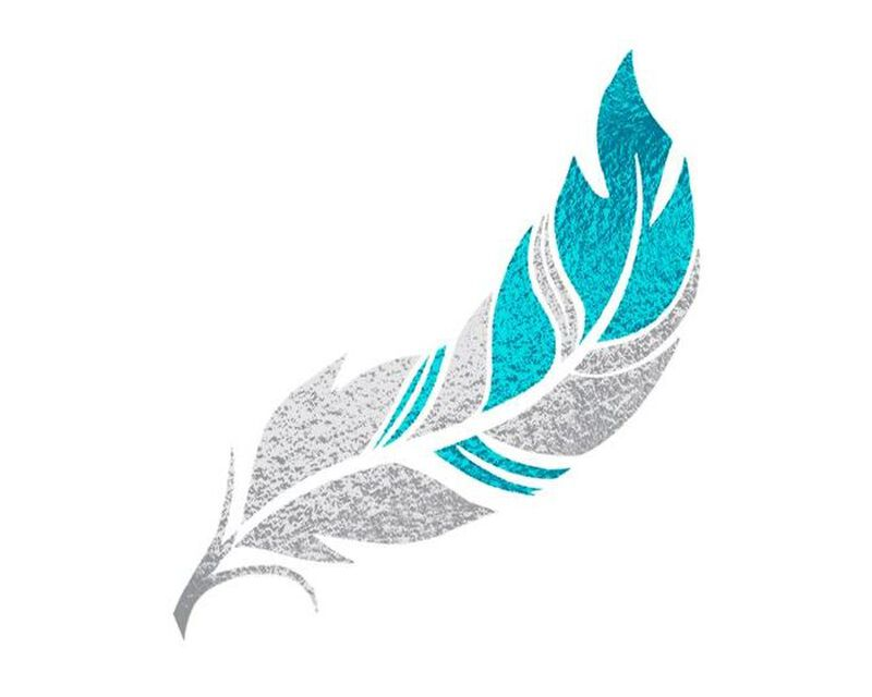 Metallic Teal Feather Temporary Tattoo image number null