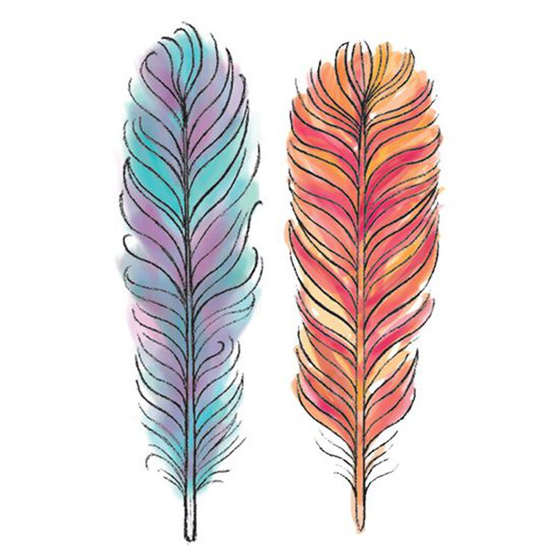 Watercolor Feathers Temporary Tattoo image number null