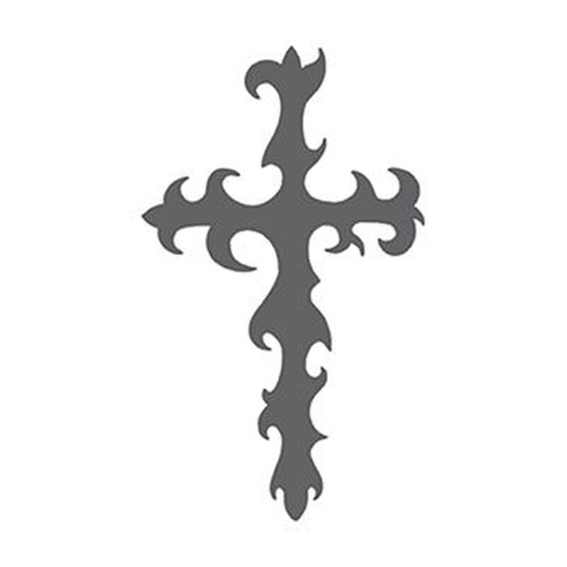 Gray Tribal Cross Temporary Tattoo image number null
