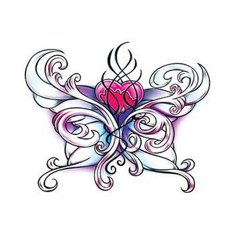 Wicked Midnight Heart Butterfly Temporary Tattoo image number null