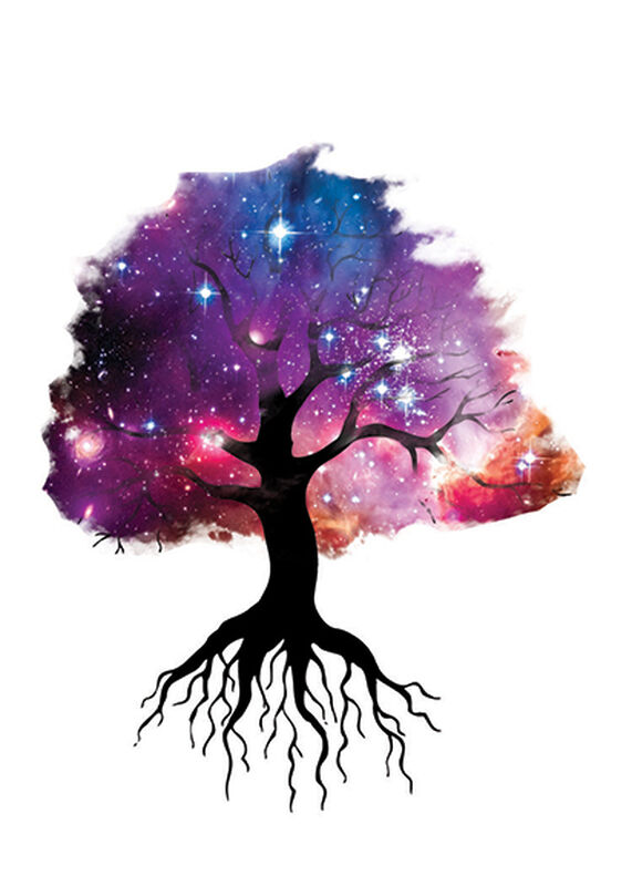 Galaxy Tree Temporary Tattoo image number null