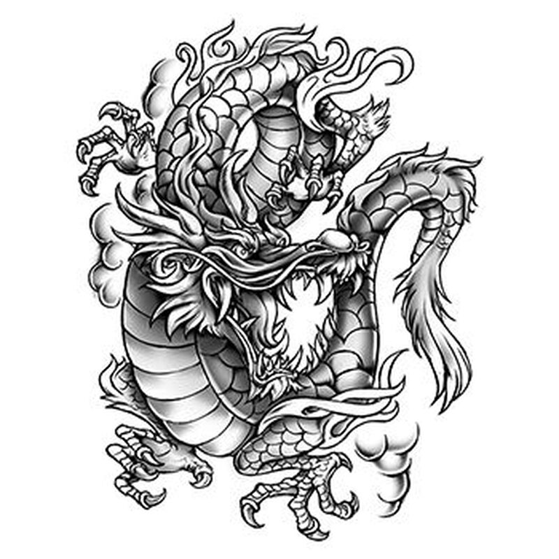 Large Gray Dragon Temporary Tattoo image number null