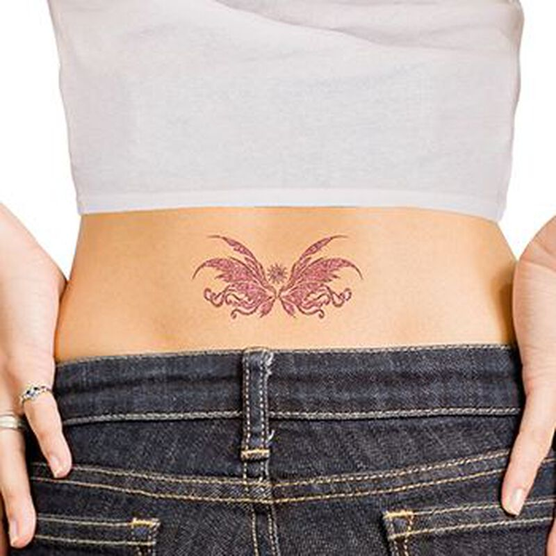 Glitter Pink Wing Lower Back Temporary Tattoo image number null