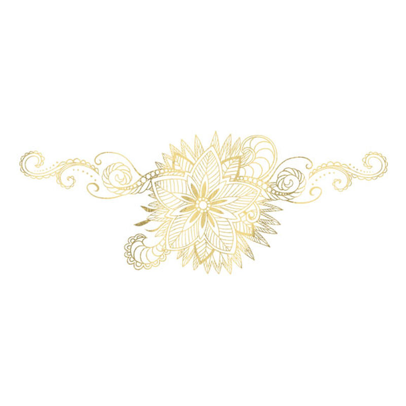 Metallic Gold Etched Lace Temporary Tattoo image number null