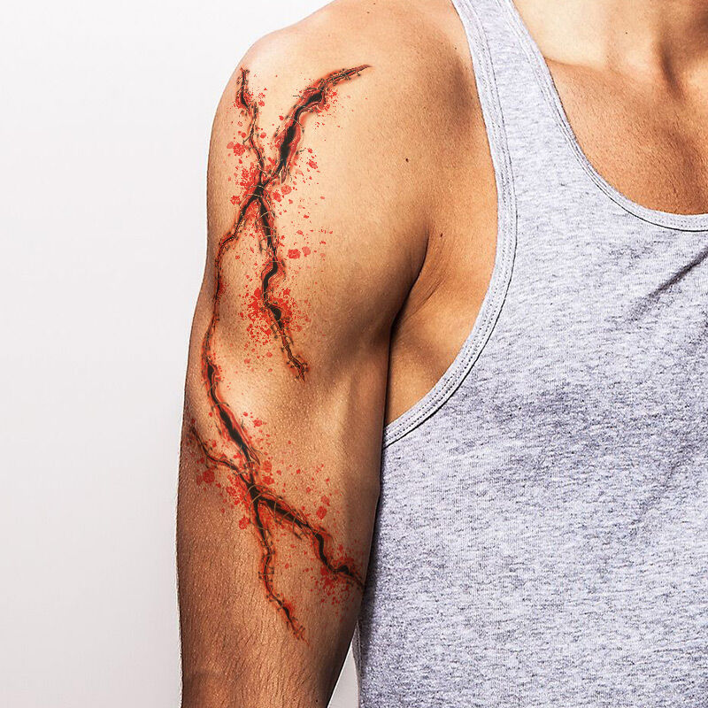 Long Stitched Slashes Costume Tattoo image number null