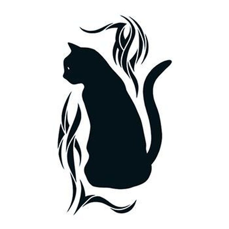 Black Cat with Tribal Design Temporary Tattoo image number null