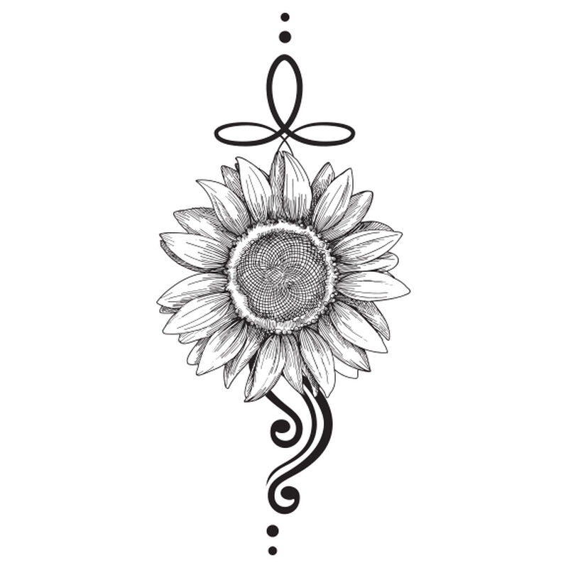 Sunflower Black & White Temporary Tattoo image number null