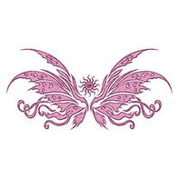 Glitter Pink Wing Lower Back Temporary Tattoo