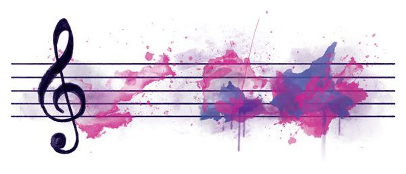 Watercolor Music Bar Temporary Tattoo image number null