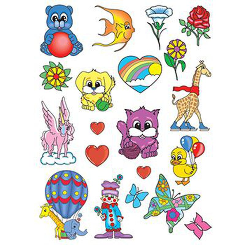 Happy Animals Kids Set of Temporary Tattoos image number null