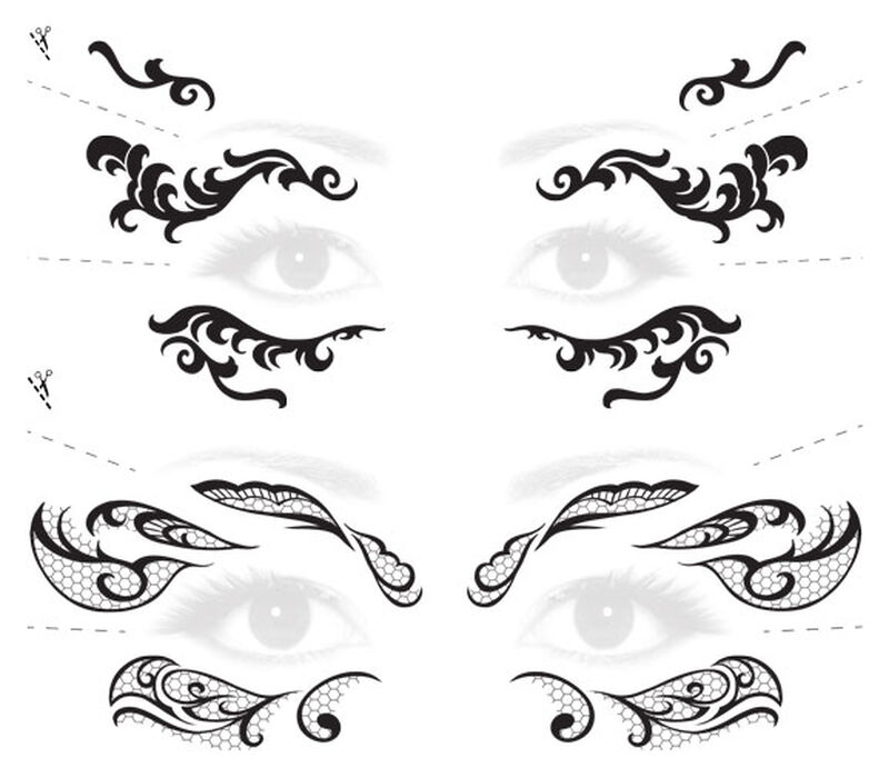 Lace Mask Masquerade Costume Tattoos image number null