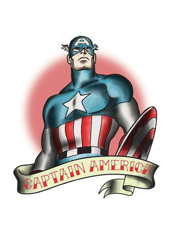 Marvel Ink Captain America Temporary Tattoo image number null