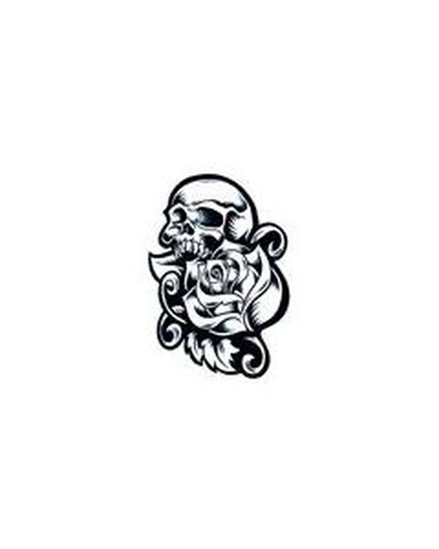 Rose Skull Day of the Dead Halloween Temporary Tattoo image number null