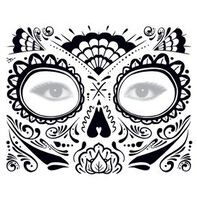 Glitter Day of the Dead Face Temporary Tattoo