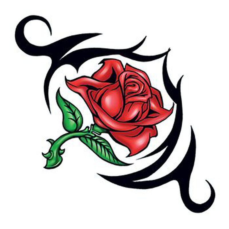 Tribal Rose with Thorn Temporary Tattoo image number null