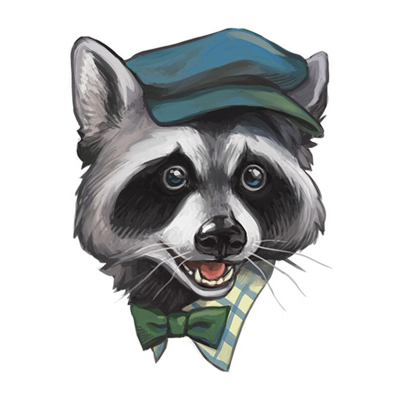 Newsie Racoon Temporary Tattoo image number null