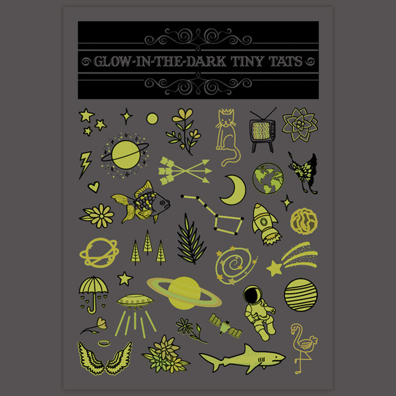 Glow-in-the-Dark Tiny Tats Temporary Tattoos image number null