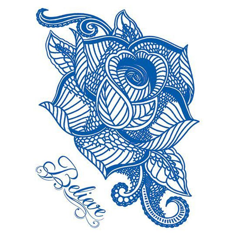 Delft Blue Rose Temporary Tattoo image number null