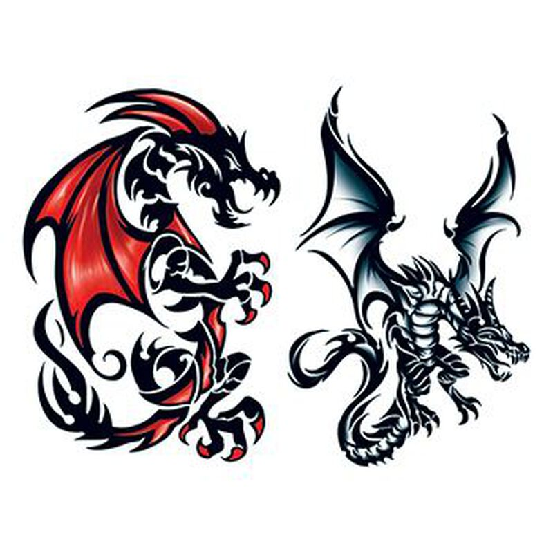 Leviathan Dragons Temporary Tattoo Set image number null