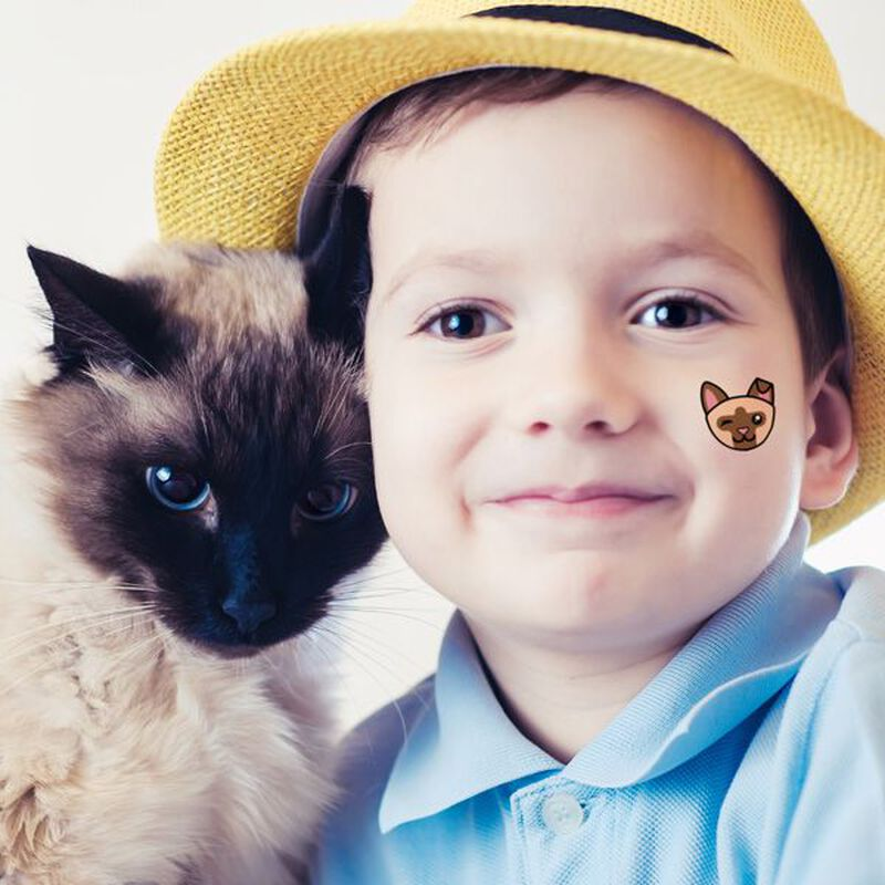 Siamese Cat Face Temporary Tattoo image number null