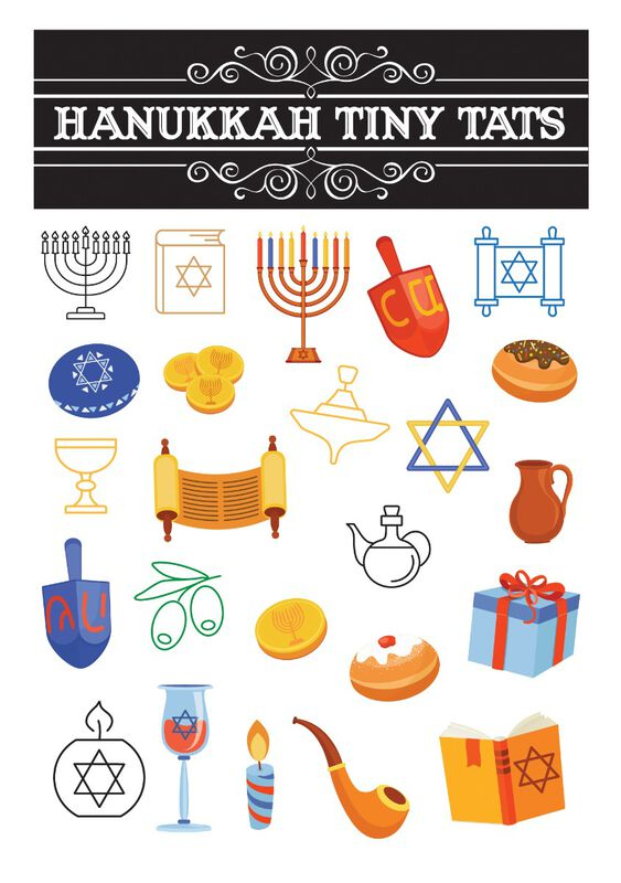 Hanukkah Tiny Tats Temporary Tattoos image number null
