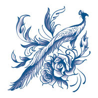 Classic Blue Peacock Temporary Tattoo