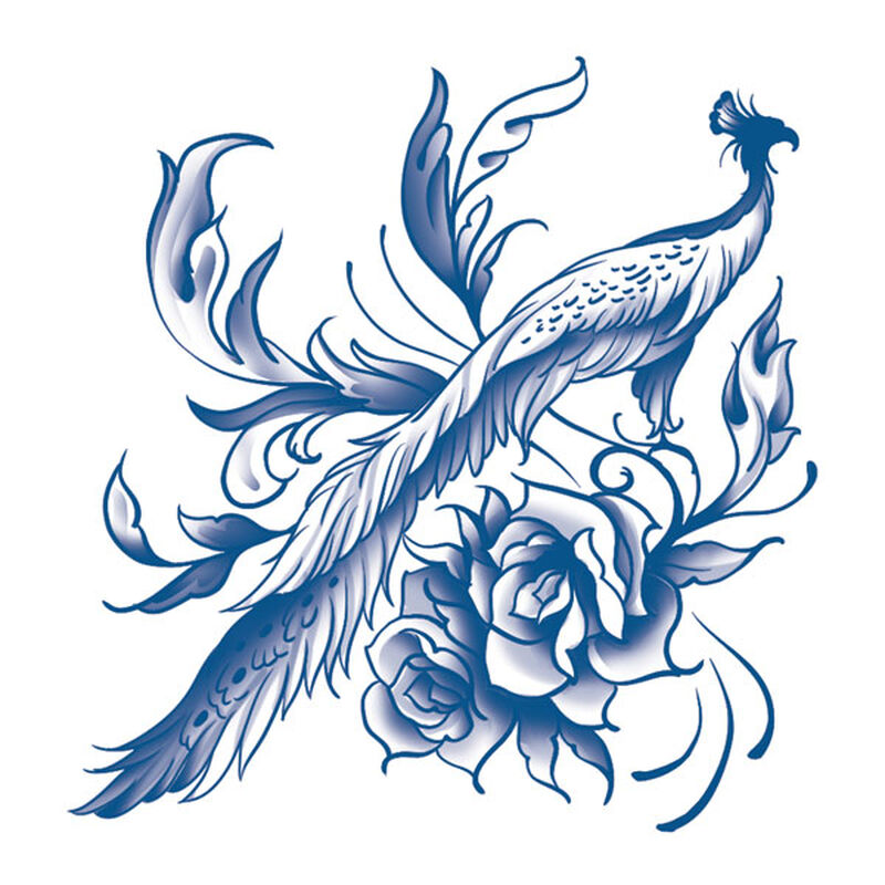 Classic Blue Peacock Temporary Tattoo image number null