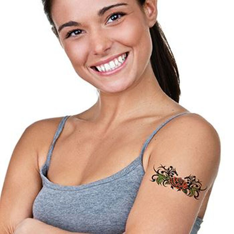 Tribal Rose Back Temporary Tattoo image number null