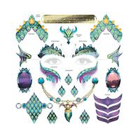 Dragon Face and Accessory Metallic Temporary Tattoo
