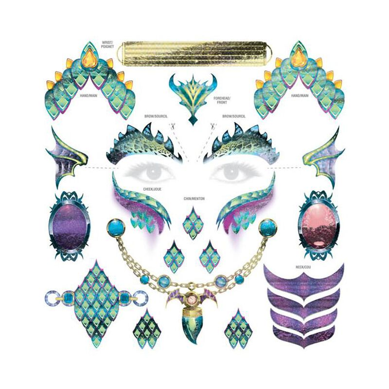 Dragon Face and Accessory Metallic Temporary Tattoo image number null
