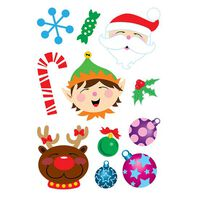 Glitter Santa Christmas Temporary Tattoo Sheet