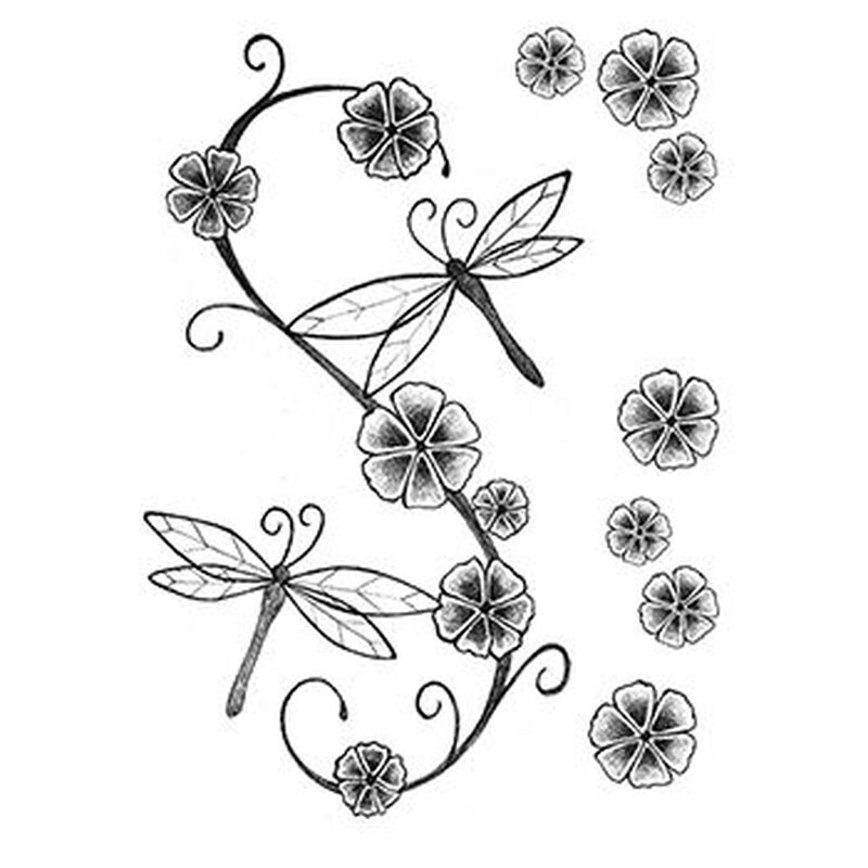 Fashion: Soft Dragonfly and Flowers Temporary Tattoos image number null