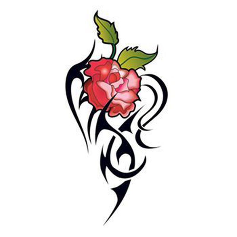 Red Tribal Roses Temporary Tattoos image number null