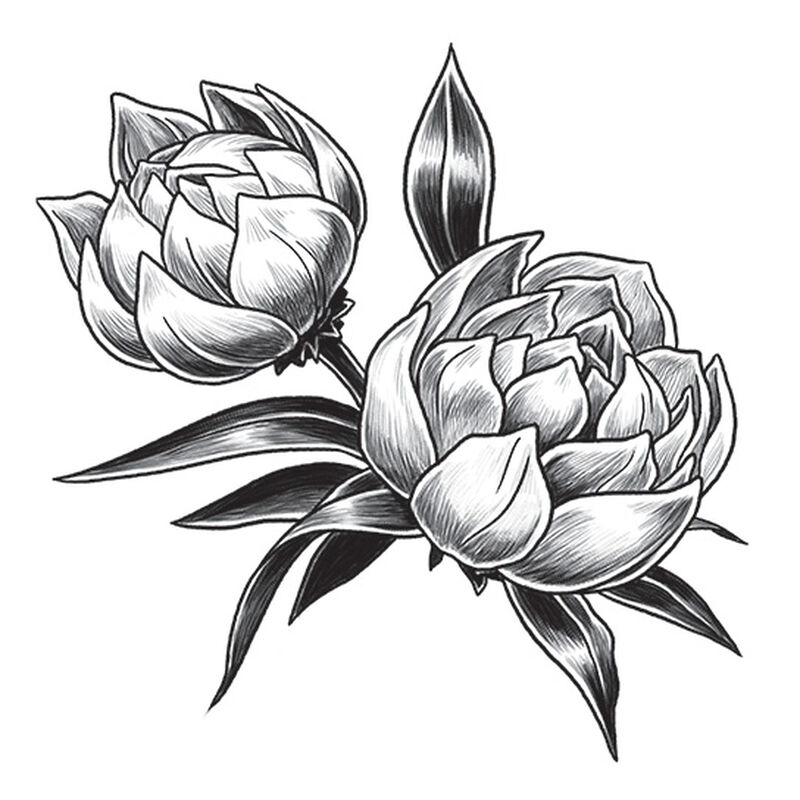 Gray Tulip Temporary Tattoo image number null