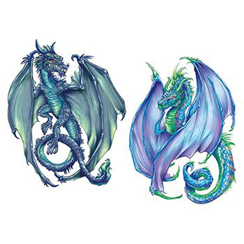 Coatl Dragons Temporary Tattoo Set image number null