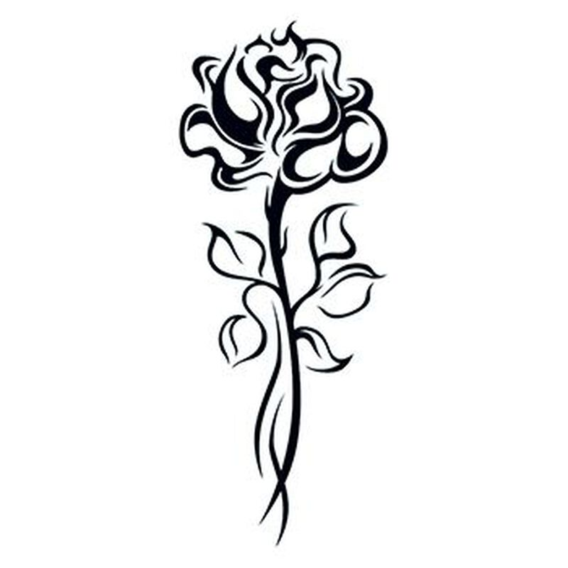 Tribal Rose with Stem Temporary Tattoo image number null