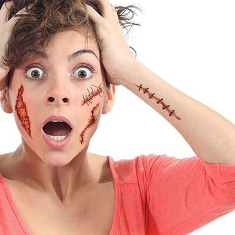 Gory Scary Stitches and Wounds Temporary Tattoo image number null