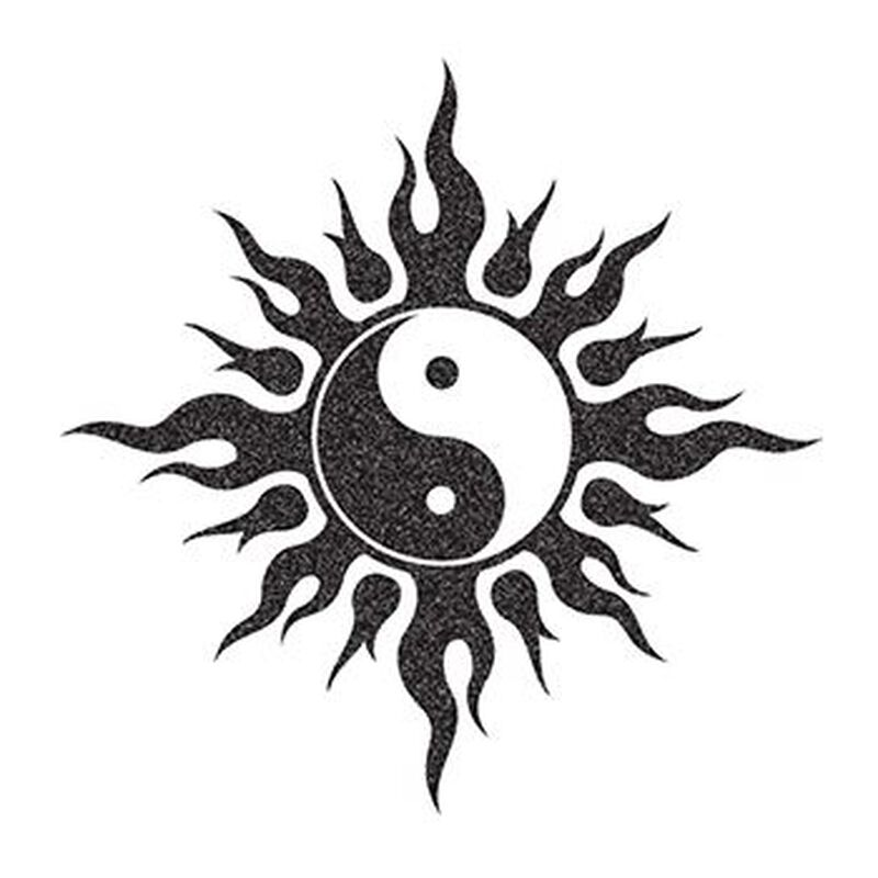 Glitter Black and White Yin Yang Temporary Tattoo image number null