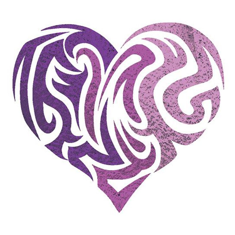 Purple Heart Color Metallic Temporary Tattoo image number null