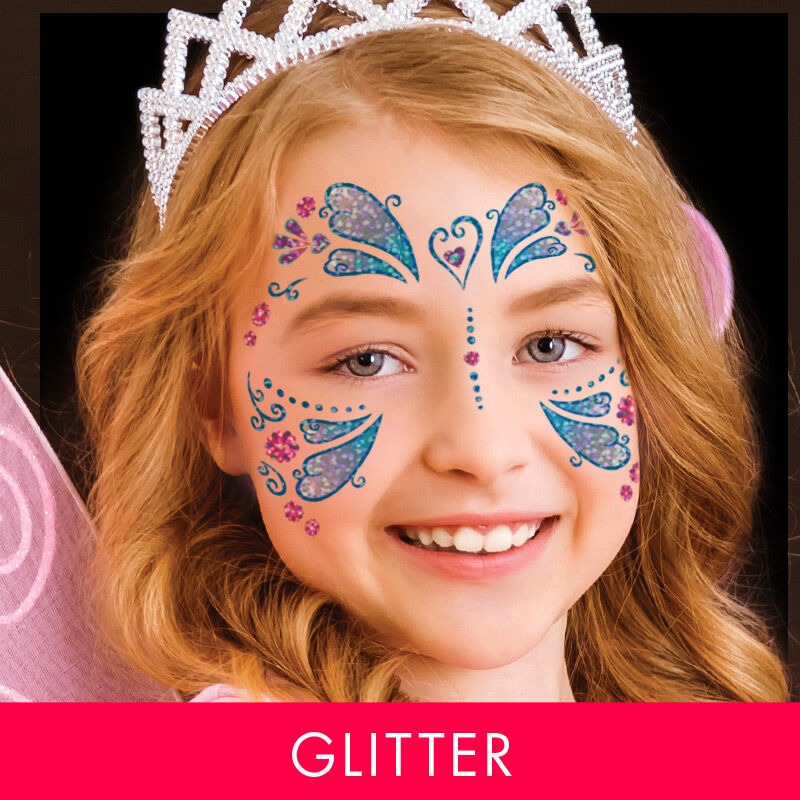 Glitter Butterfly Kids Costume Tattoo image number null
