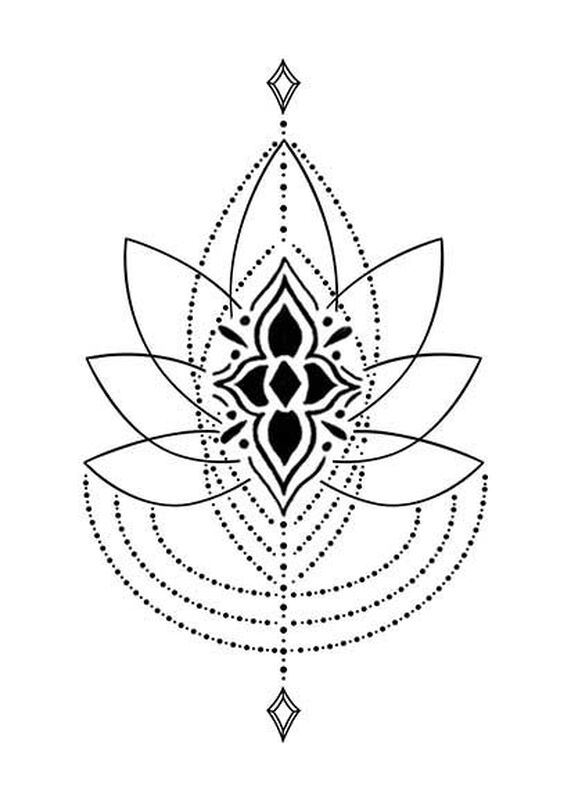 Bohemian Lotus Jewelry Temporary Tattoo image number null