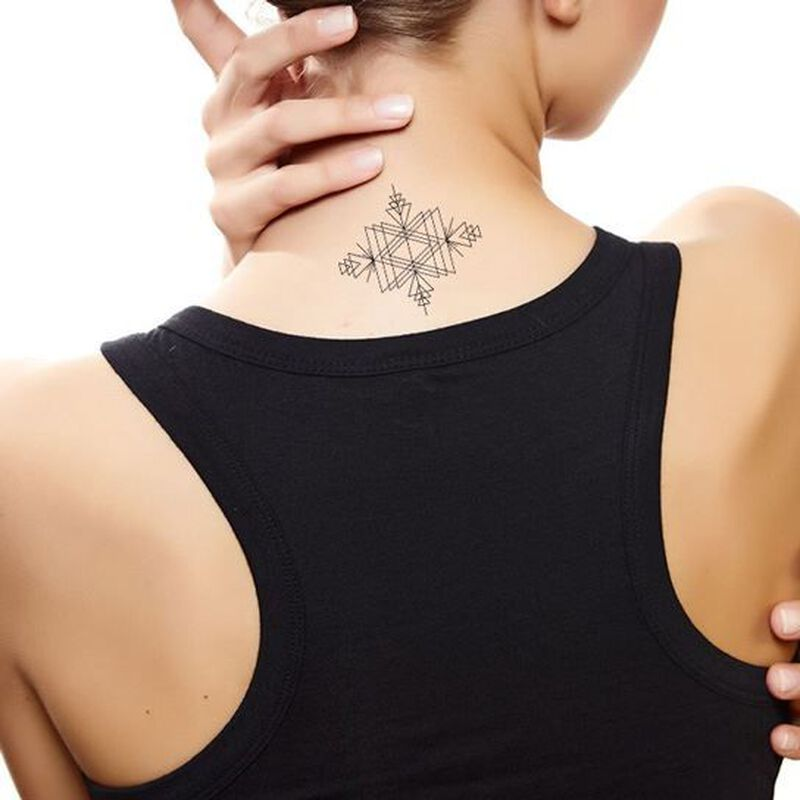 Intricate Triangle Geometric Temporary Tattoo image number null