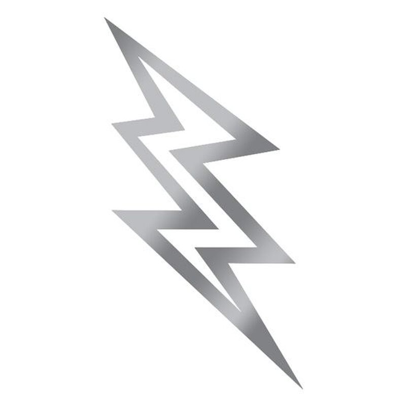 Metallic Silver Lightning Bolt Temporary Tattoo image number null