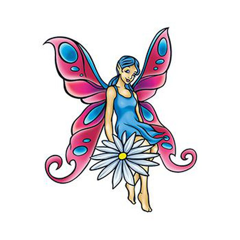 Mythical Pink and Blue Fairy Temporary Tattoo image number null