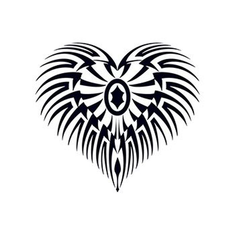 Glow in the Dark Tribal Heart Temporary Tattoo image number null