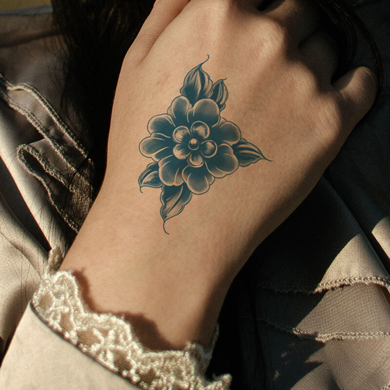 Classic Blue Flower Temporary Tattoo image number null