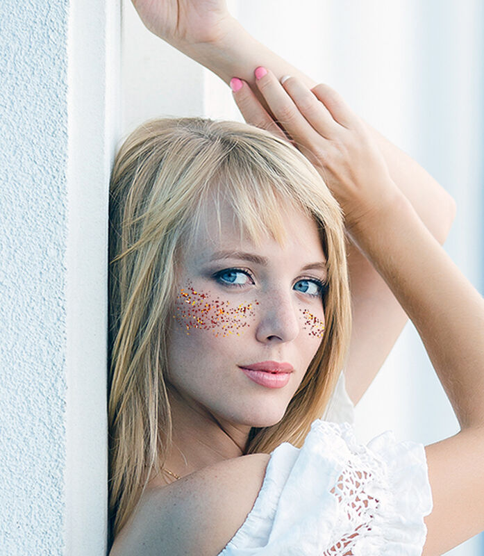 Metallic Flashy Freckles Face Temporary Tattoo- Gold & Red (Small) image number null