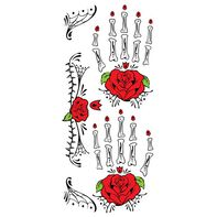 Day of the Dead Red Rose Hand Temporary Tattoo